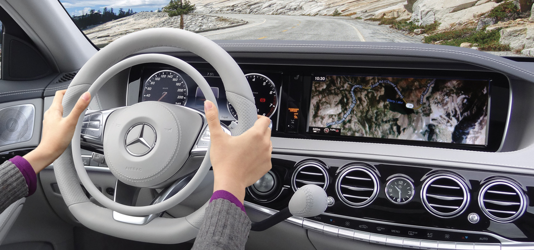 Mercedes S-Class with Darios hand controls for accelerator and brake