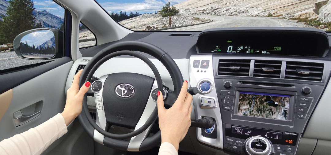 Toyota Prius with hand controls Darios and main hand brake to drive with a disability